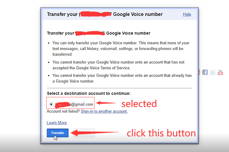 How to Transfer Google Voice Number to another Gmail? 6